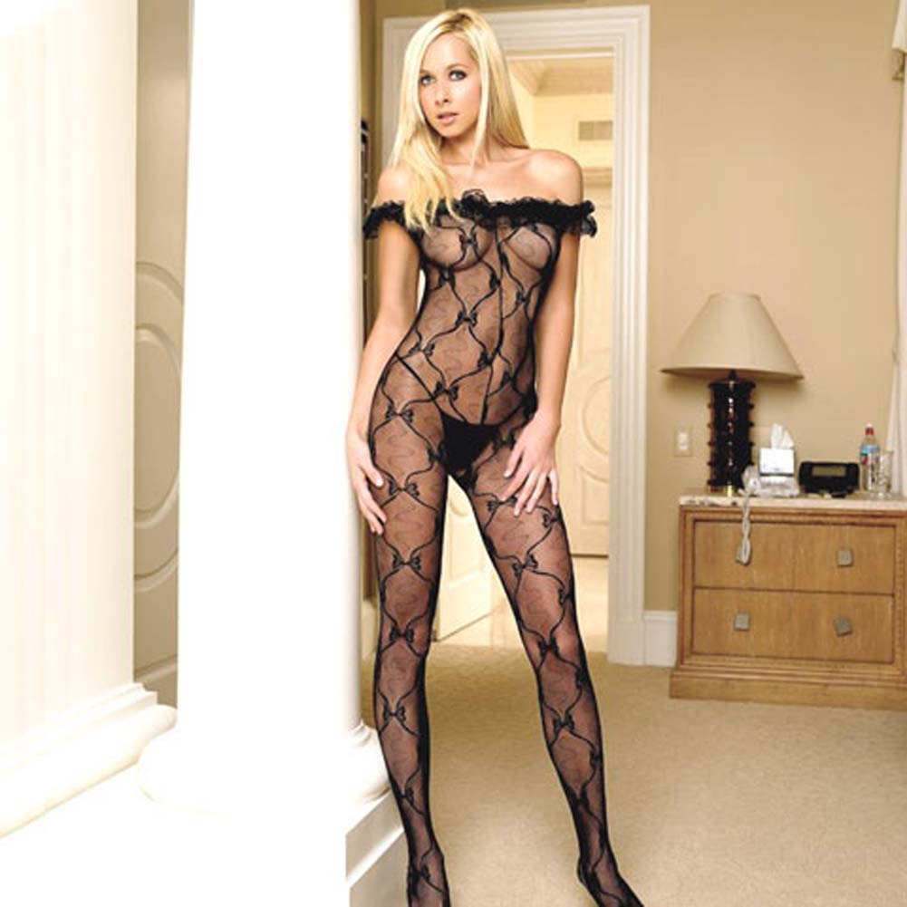 Lace Ruffle Off Shoulder Crotchless Bodystocking Black - View #2