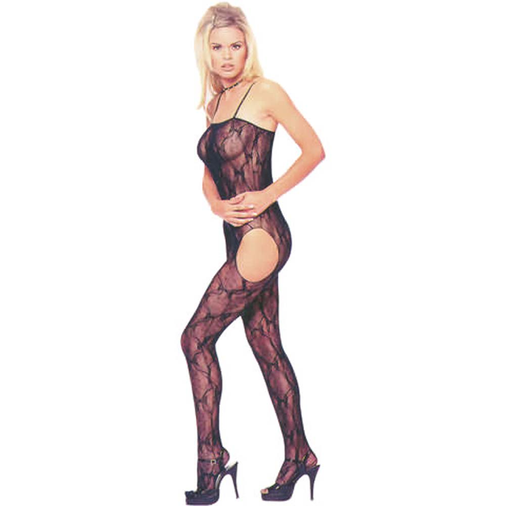 Bow Lace Suspender Bodystocking Black - View #2