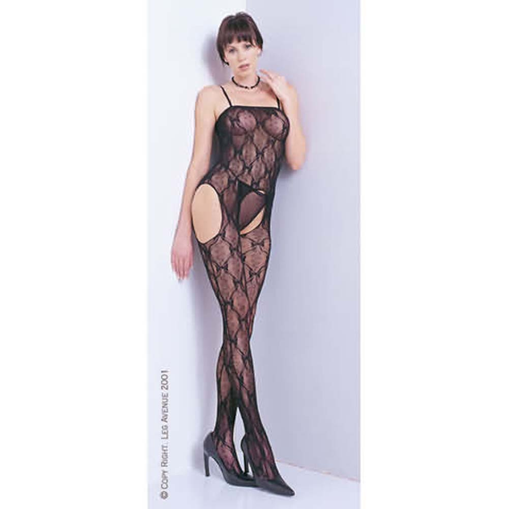 Bow Lace Suspender Bodystocking White - View #1