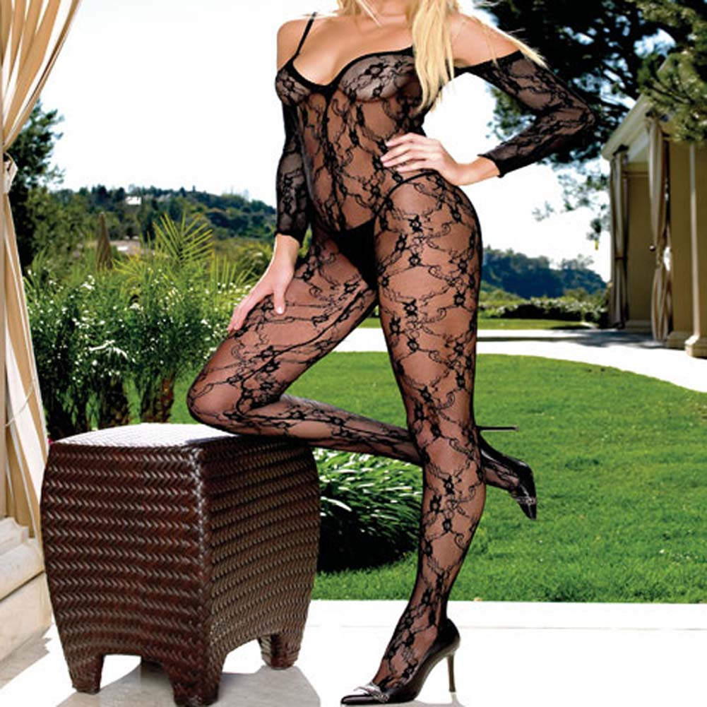 Fashion Lace Bodystocking Open Crotch Black Plus Size - View #1
