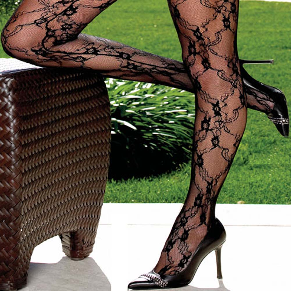 Fashion Lace Bodystocking Open Crotch Black Plus Size - View #3