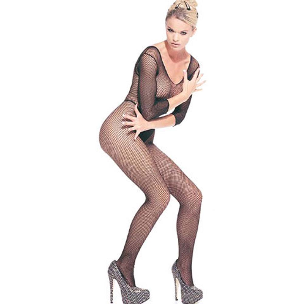 Seamless Fishnet Long Sleeves Bodystocking One Size Black - View #2