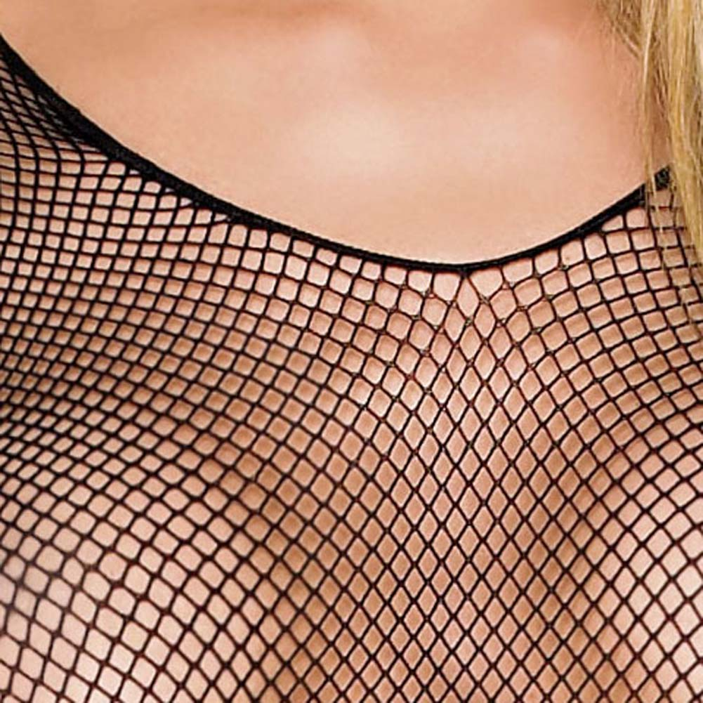 Seamless Fishnet Long Sleeves Bodystocking One Size Black - View #4