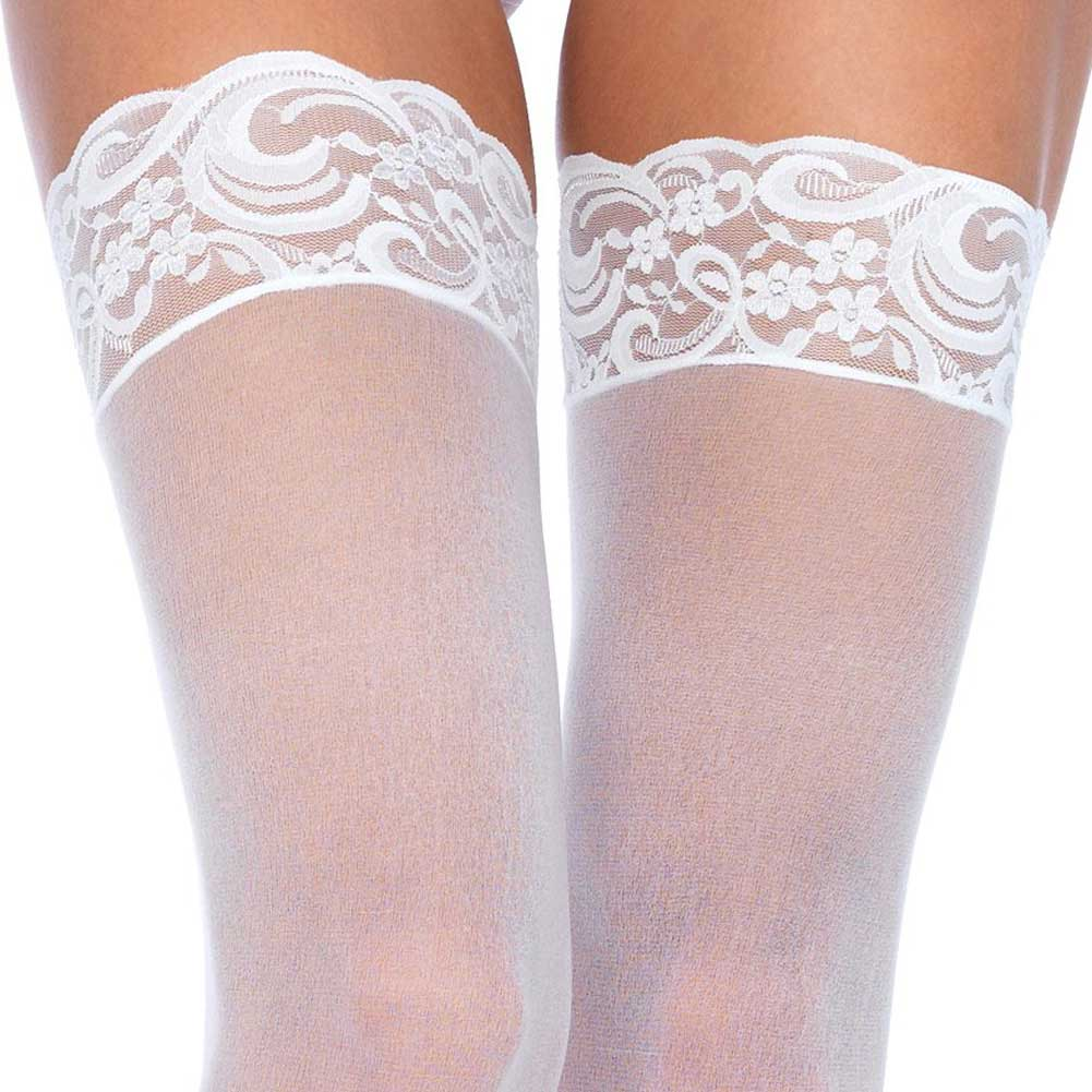 Nylon Sheer Thigh High With Lace Top One Size White - View #2