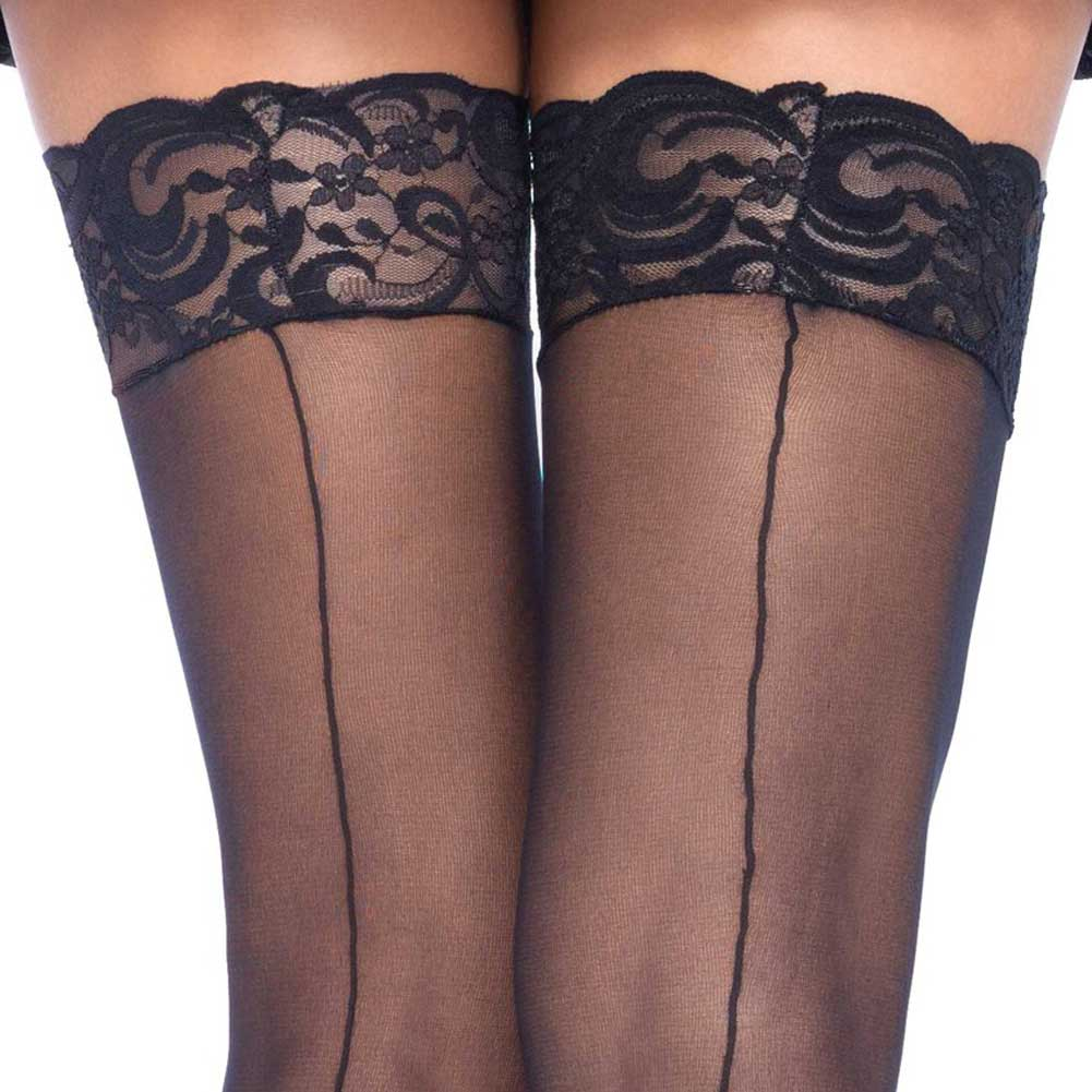 Leg Avenue Sheer Thigh High Lace Top Stockings with Back Seam Plus Size Black - View #2