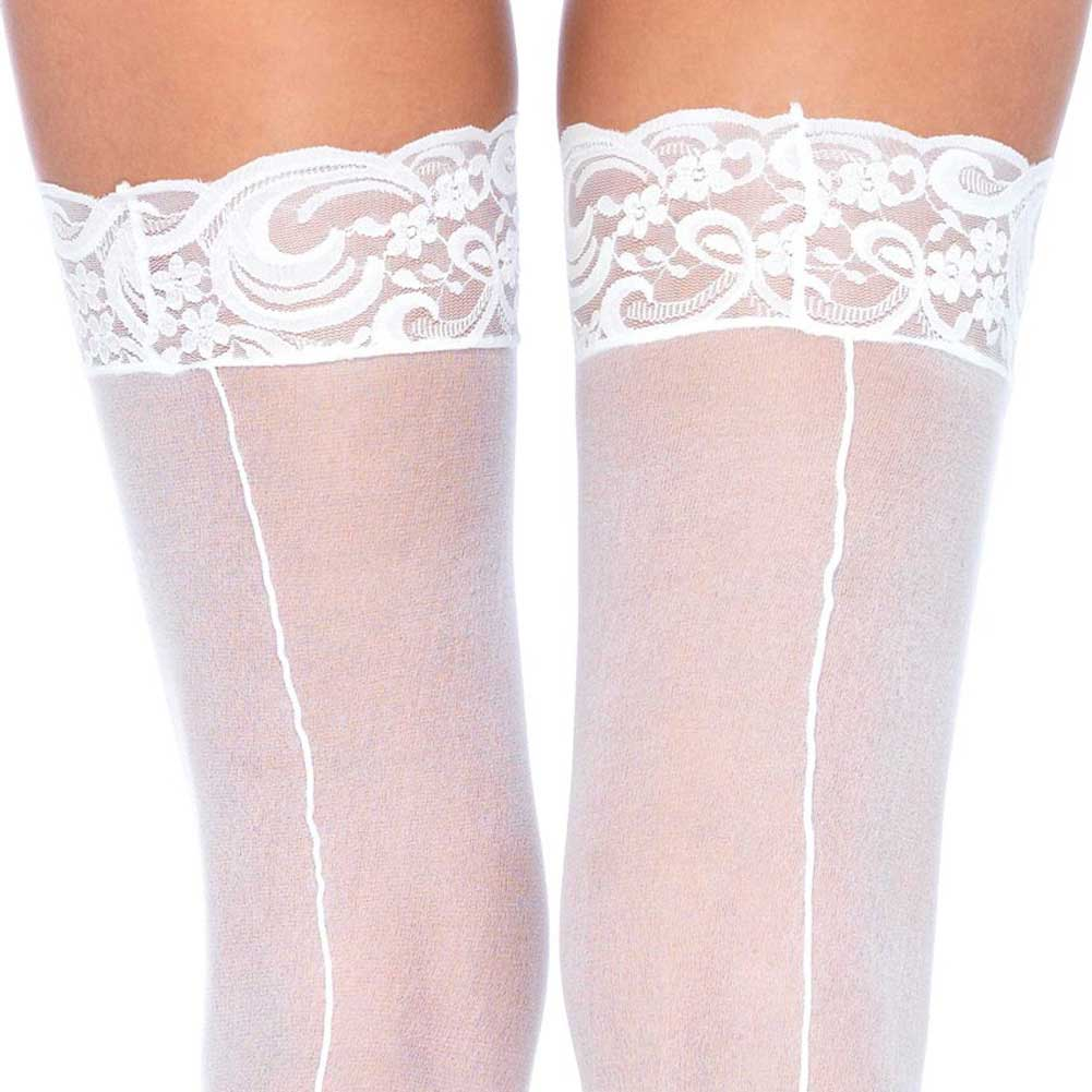 Leg Avenue Sheer Thigh High Lace Top Stockings with Back Seam Plus Size White - View #1
