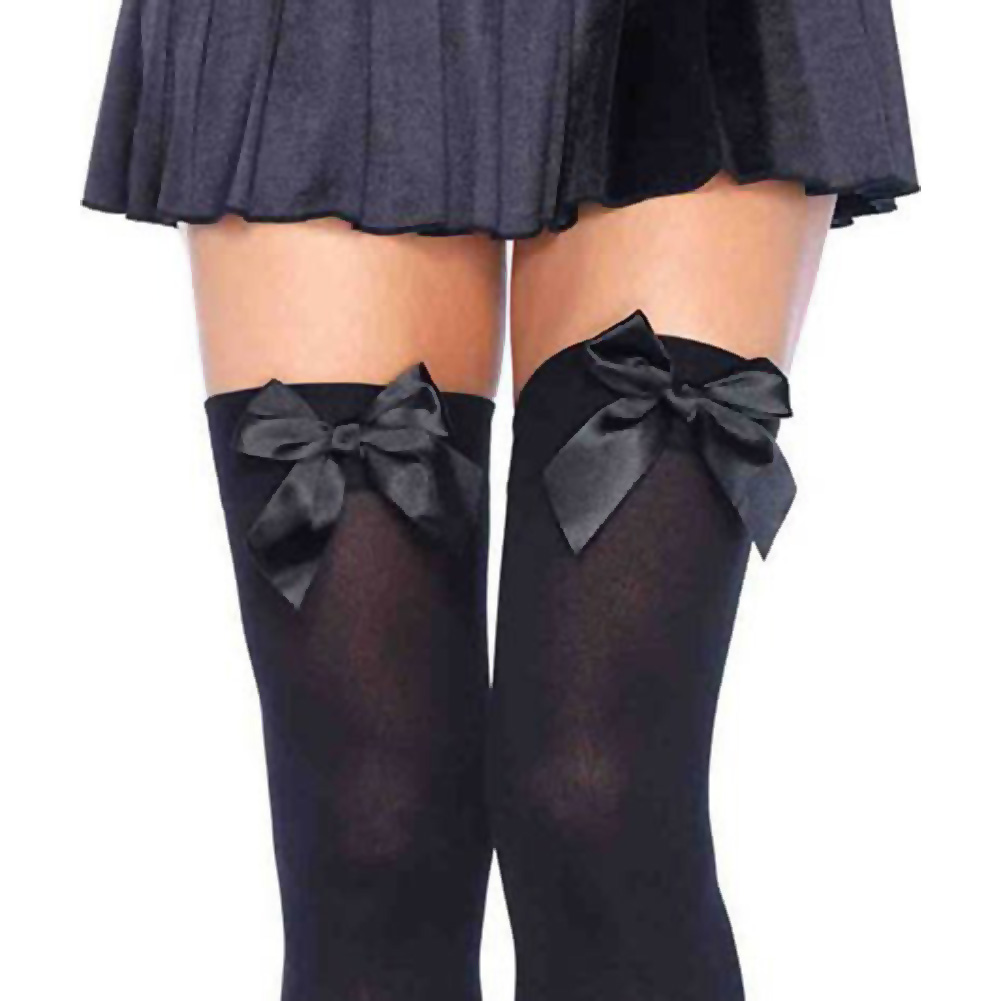 Opaque Thigh Hi with Satin Bow Black Plus Size - View #2