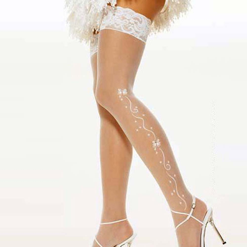 Wedding Bell Sheer Thigh Hi White - View #1