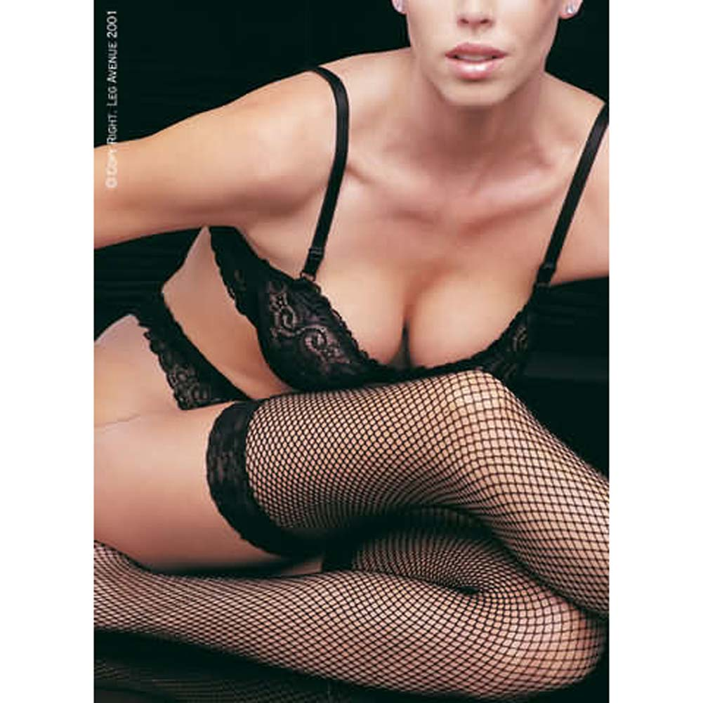 Fishnet Thigh Highs With Lace Top Plus Size White - View #1