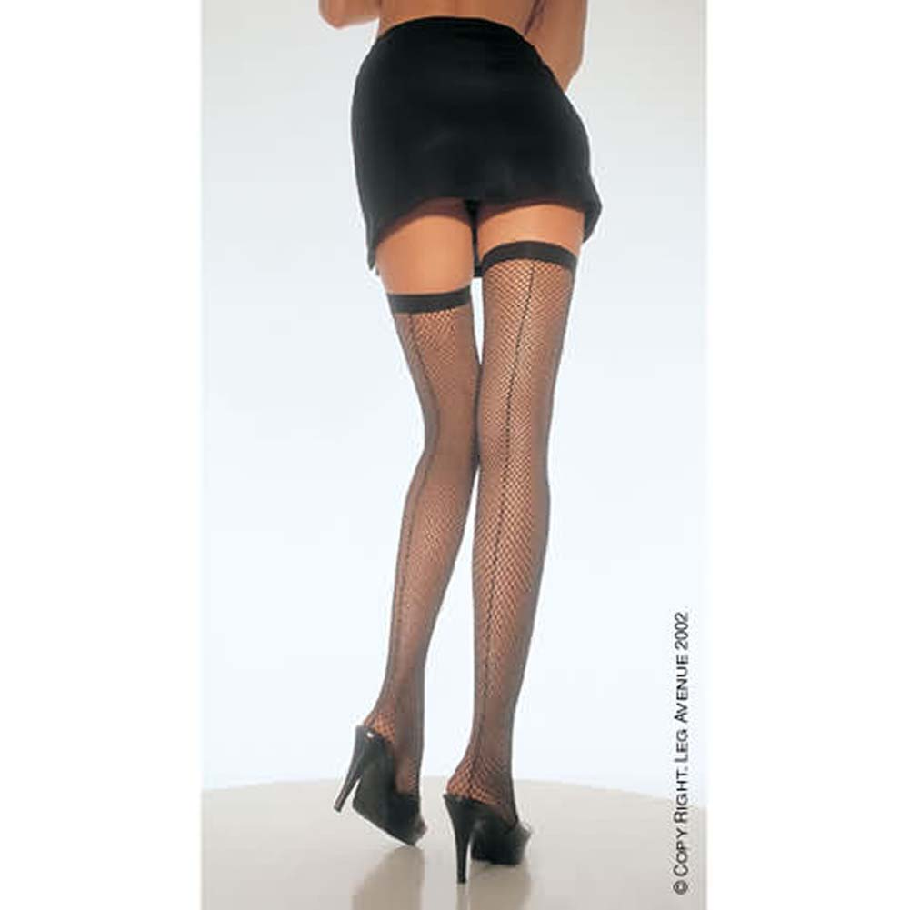 Fishnet Thigh Hi With A Back Seam White - View #1
