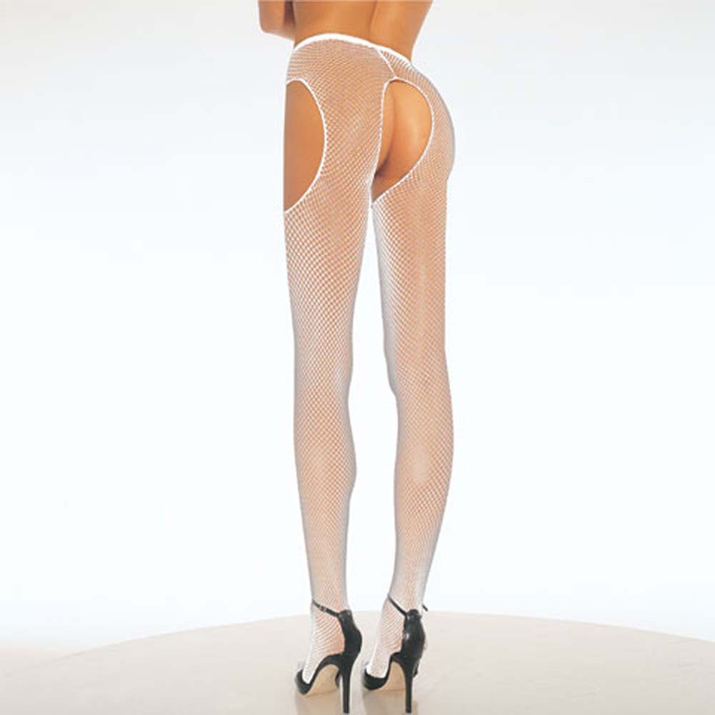Fishnet Suspender Pantyhose White - View #1