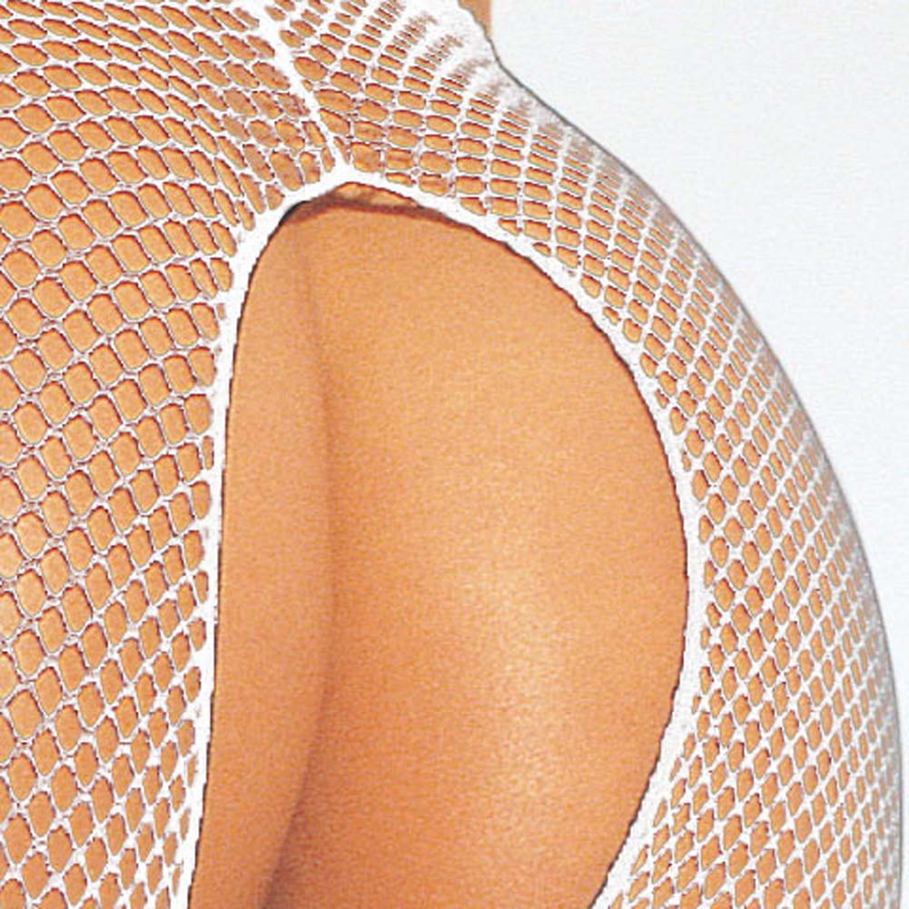 Fishnet Suspender Pantyhose White - View #3