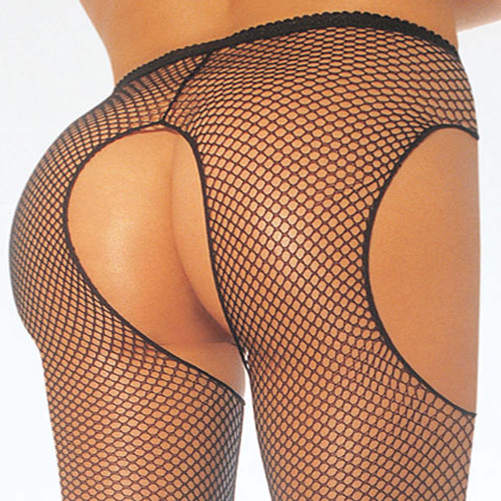 Fishnet Suspender Pantyhose Plus Size Black - View #2