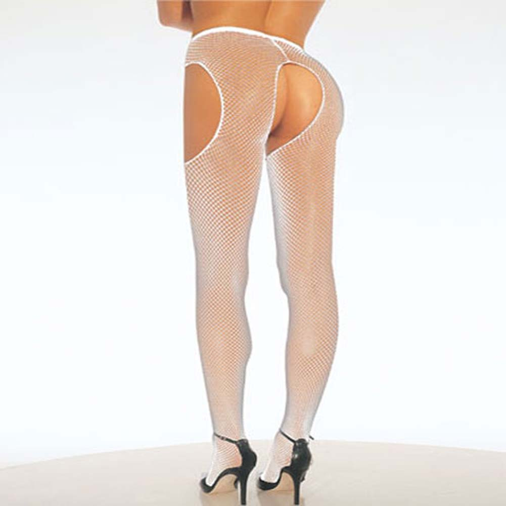 Fishnet Suspender Pantyhose Plus Size White - View #1