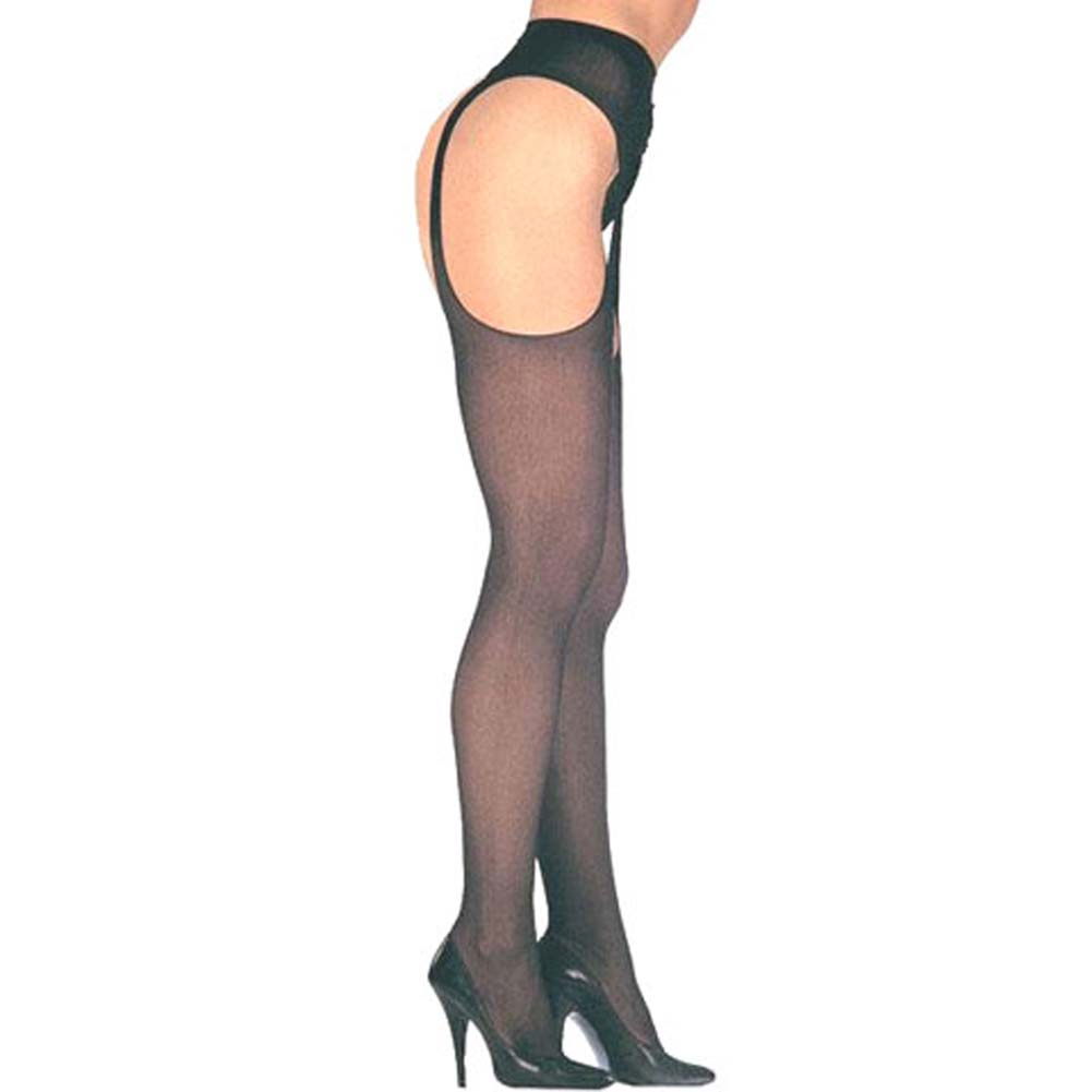 Leg Avenue Sheer Suspender Pantyhose One Size Black - View #2