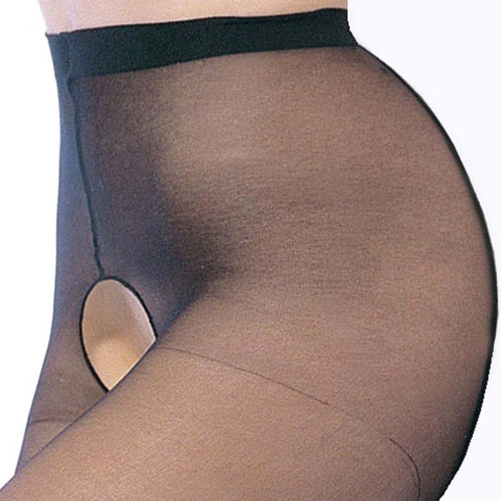 Leg Avenue Sheer Crotchless Pantyhose One Size Black - View #2