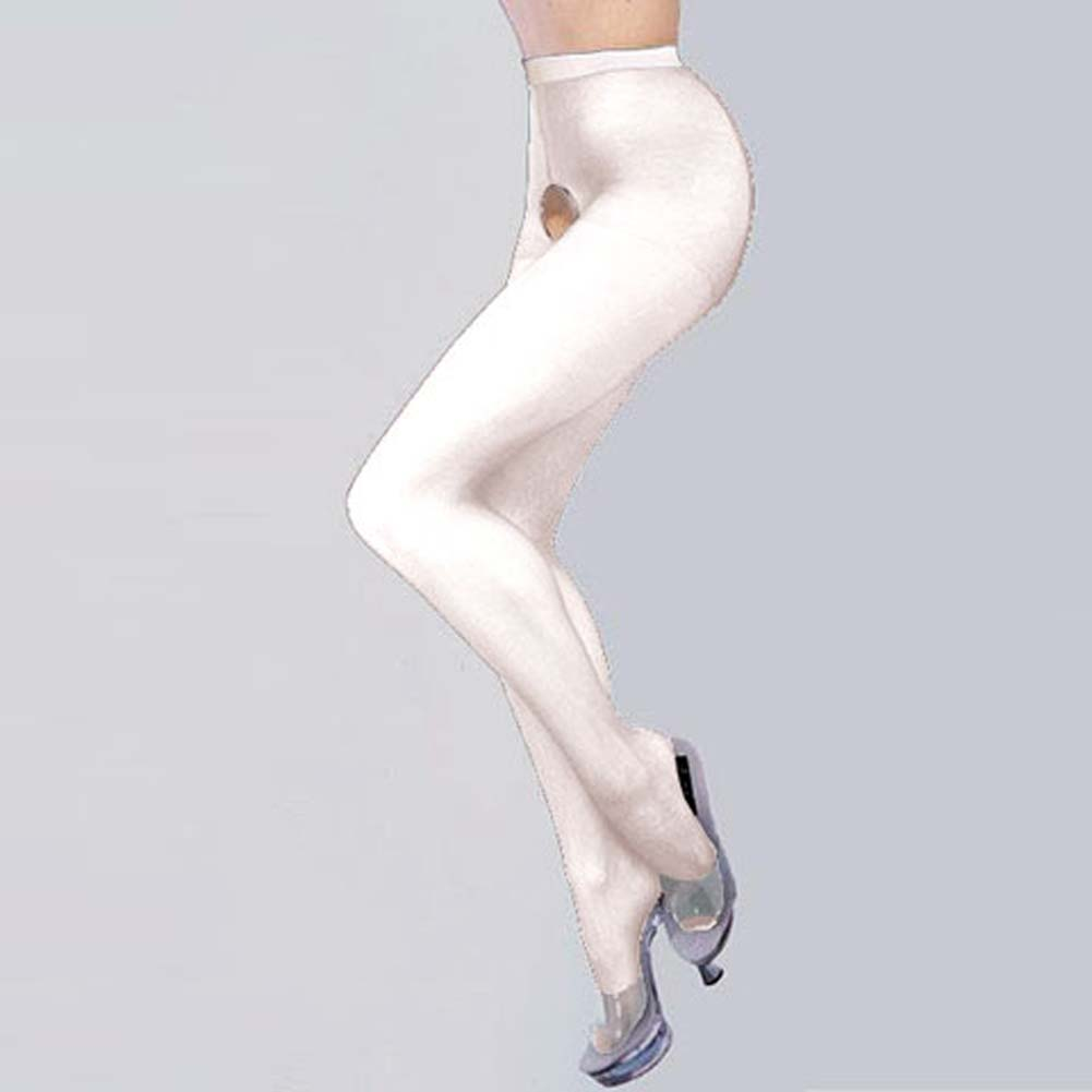 Sheer Crotchless Pantyhose White - View #1