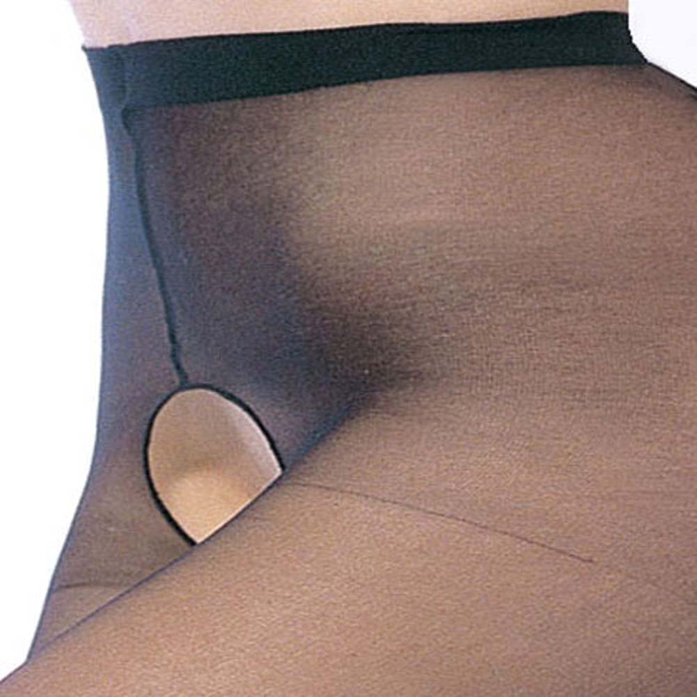 Leg Avenue Sheer Crotchless Pantyhose Plus Size Black - View #2