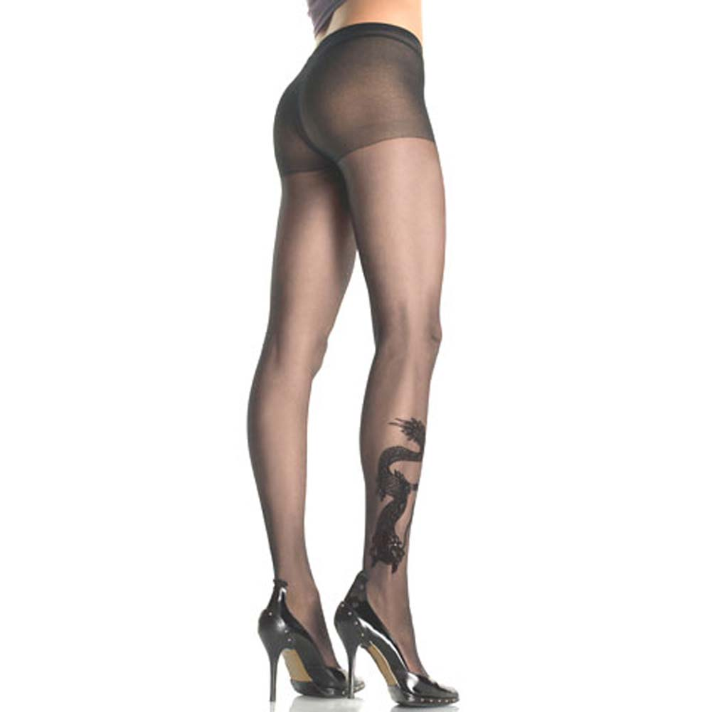 Dragon Tattoo Sheer Pantyhose Black - View #1