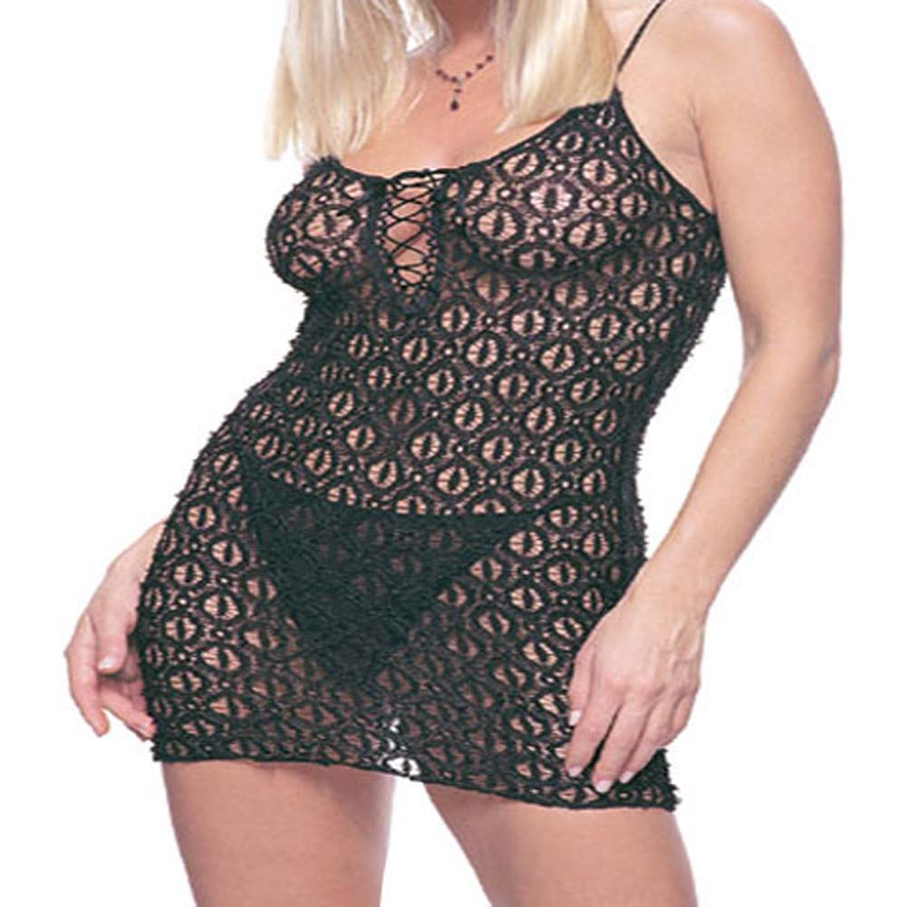 Lace Mini Dress and Matching G-String Set Black Plus Size - View #1