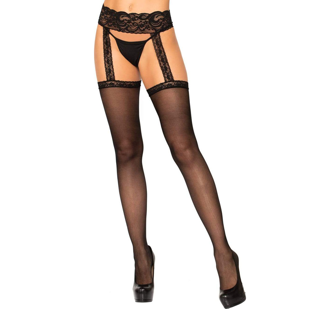 Sheer Lace Top Stockings with Attached Garter Belt One Size Black - View #1
