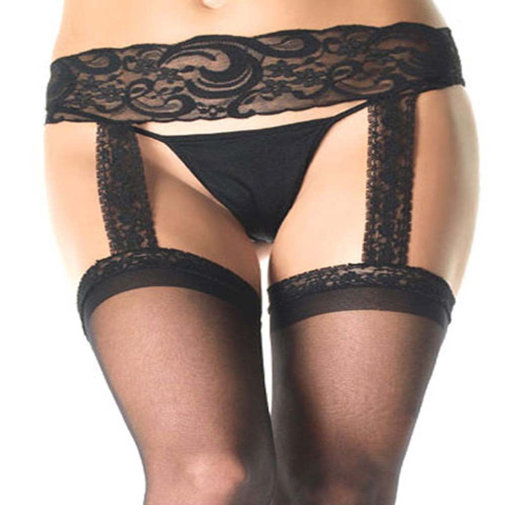 Lace Top Stockings with Attached Garter Belt Plus Size Black - View #3