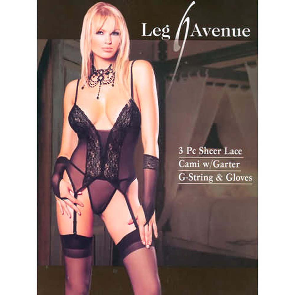 Sheer Lace Bustier Garter with G-String and Gloves - View #1