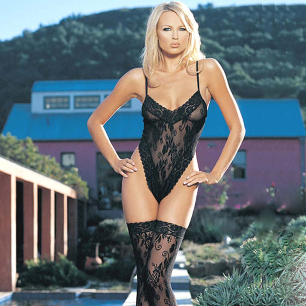 Floral Lace Teddy With Thigh Hi - View #2