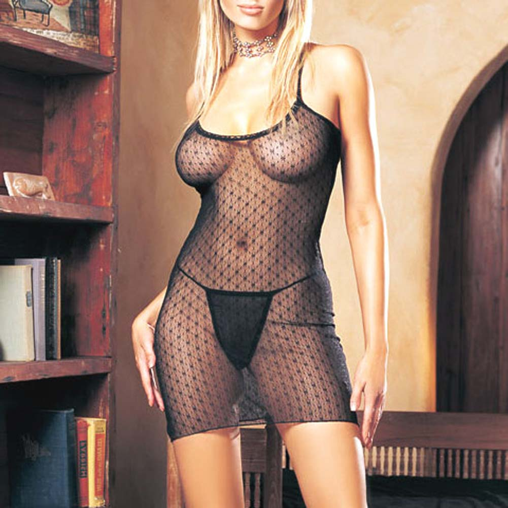Lace Criss Cross Back Dress with G-String - View #1