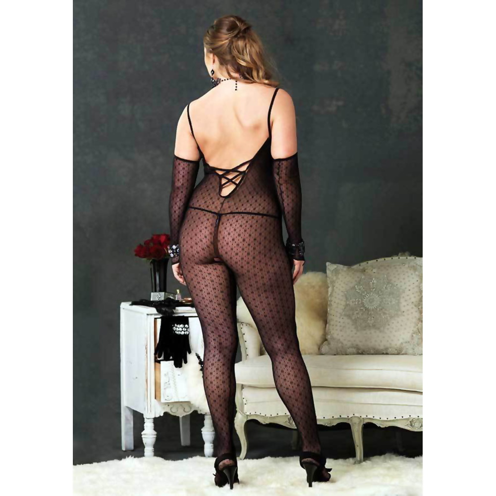 Criss Cross Back Open Crotch Bodystocking Plus Size Black - View #2
