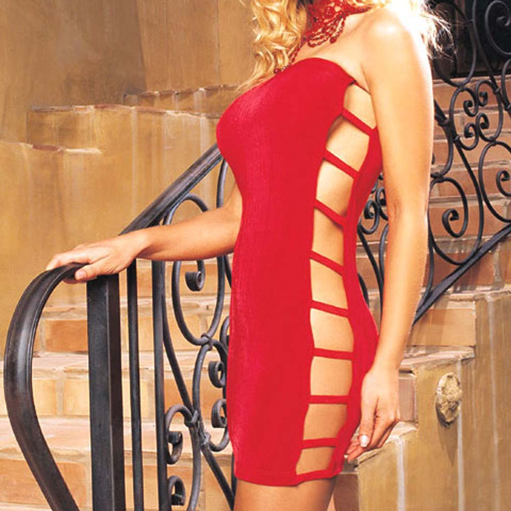 Slinky Tube Dress with Open Side Red - View #1