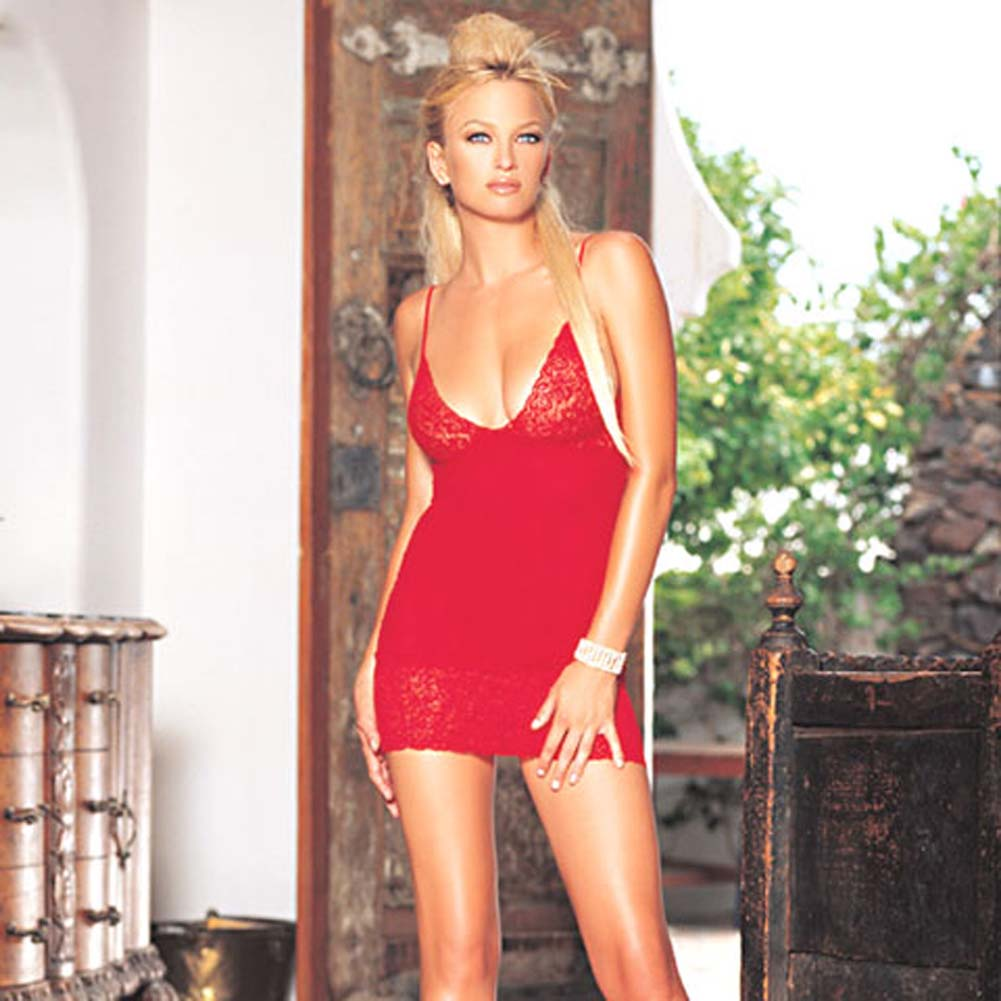 Opaque Chemise with Lace Trim Red - View #2