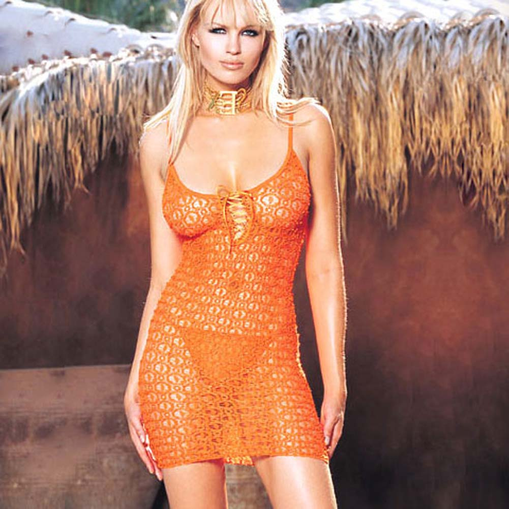 Lace Mini Dress And Matching G-String Orange - View #1
