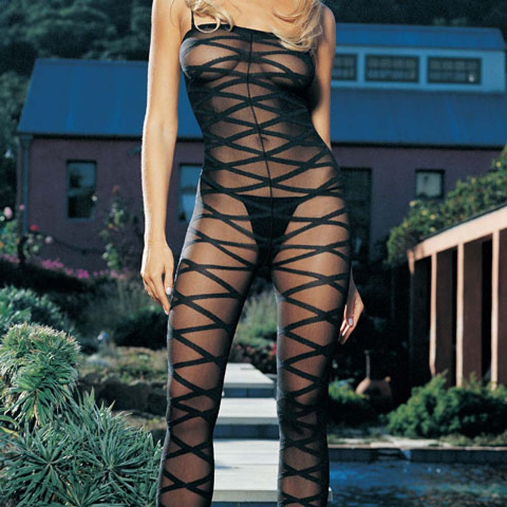 Sheer Criss Cross Bodystocking - View #2