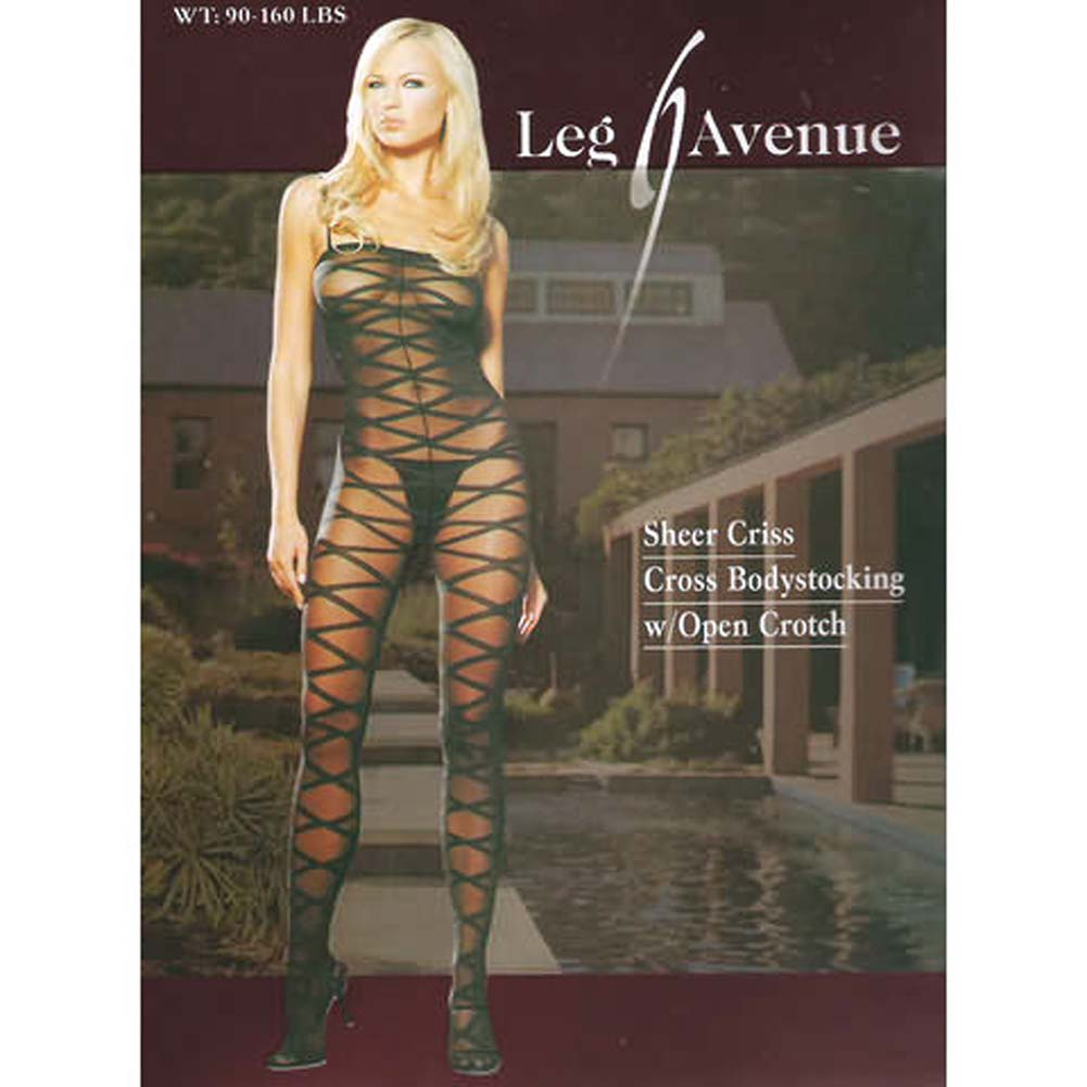 Sheer Criss Cross Bodystocking - View #4