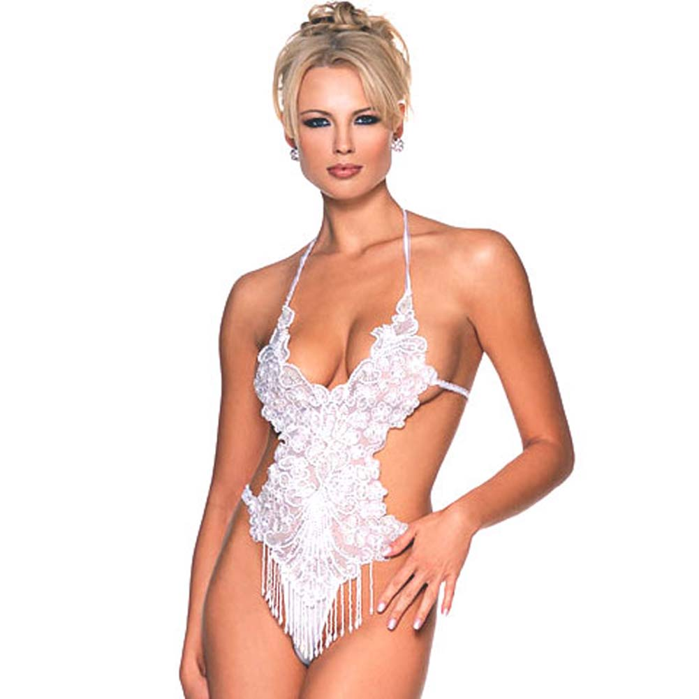 Halter Beaded and Sequined Applique Teddy White - View #2