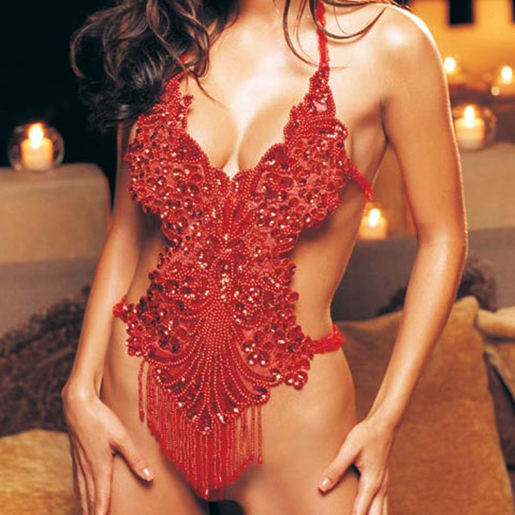 Halter Beaded and Sequined Applique Teddy Red - View #3