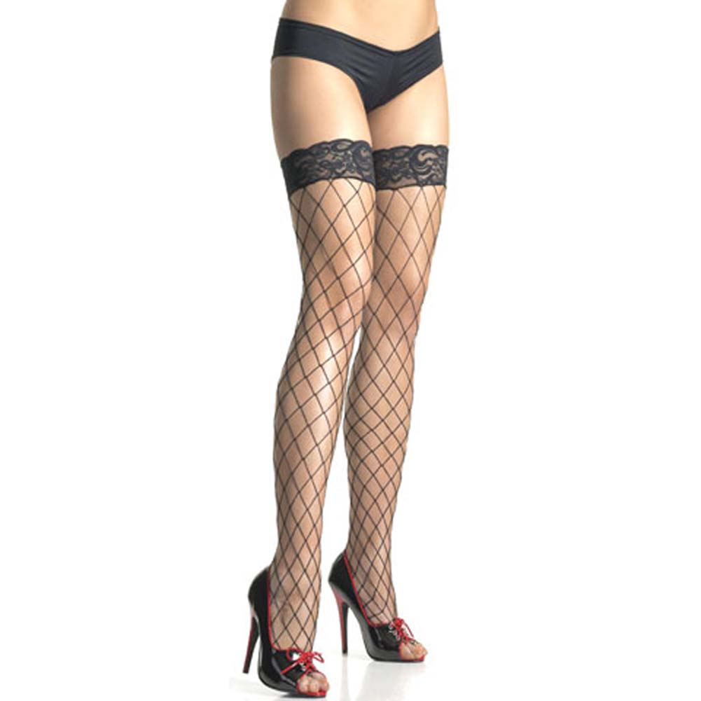 Fence Net Stockings with Lace Top One Size Black - View #1