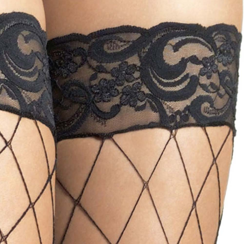 Fence Net Stockings with Lace Top One Size Black - View #3