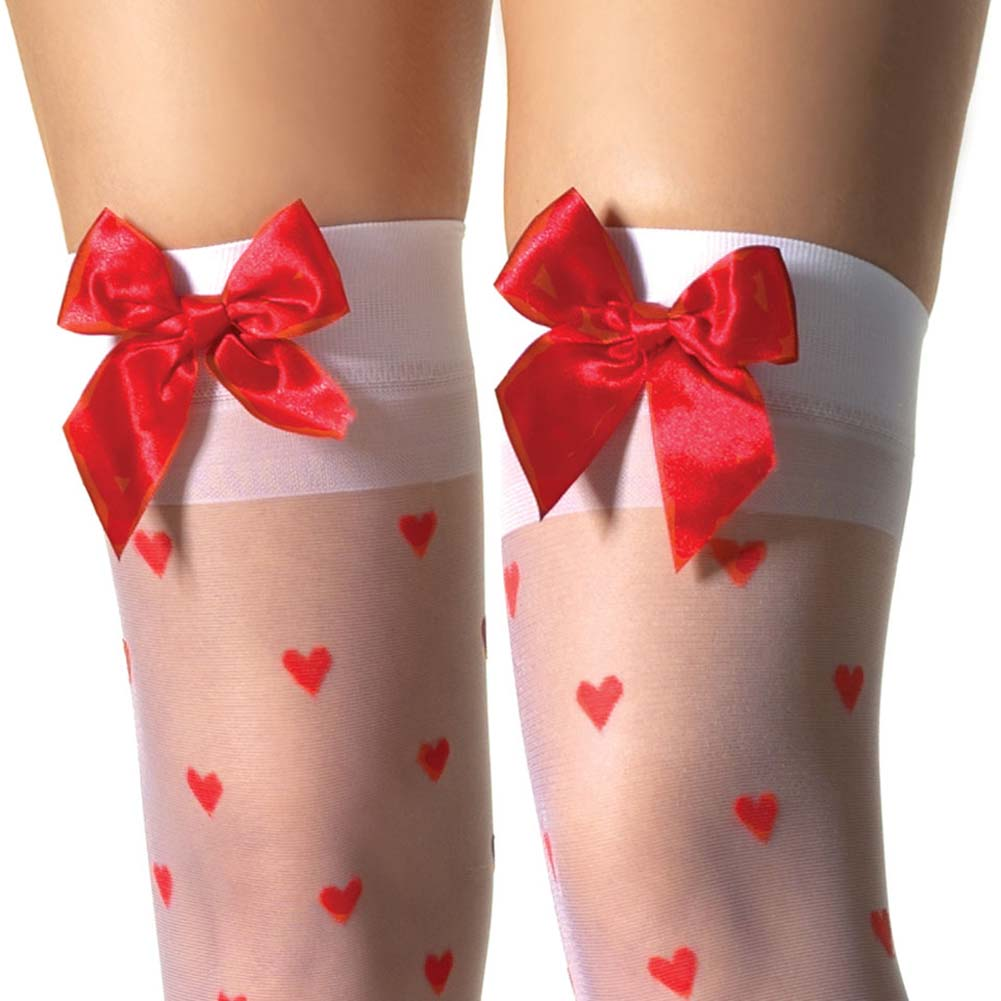 Sheer Woven Hearts Stockings with Bows - View #2
