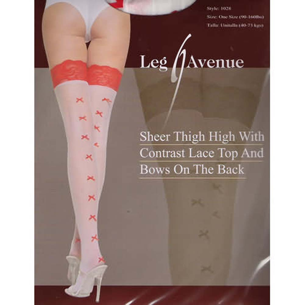 Sheer Thigh High with Lace Top and Bows - View #1