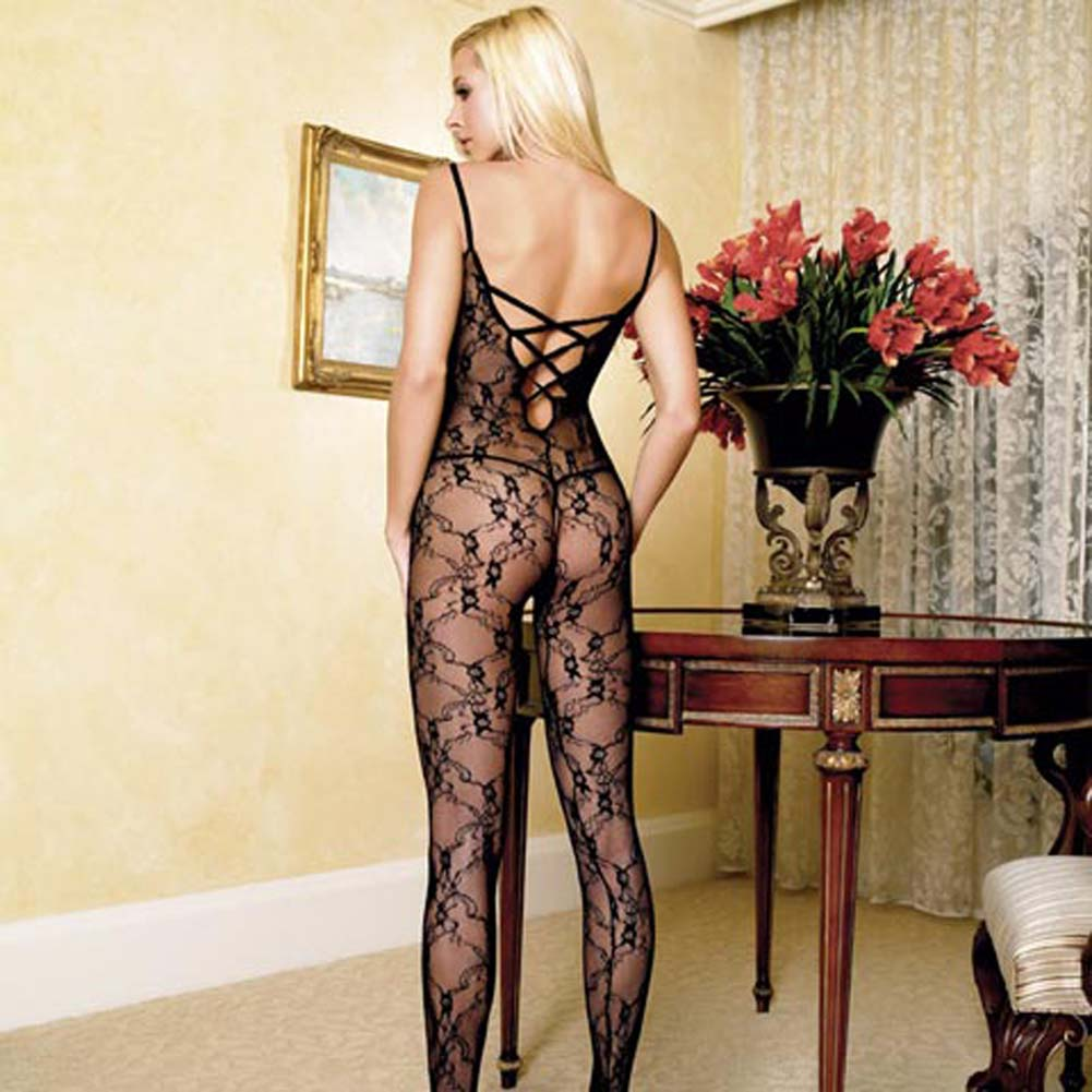 Floral Lace Crotchless Bodystocking Black - View #2