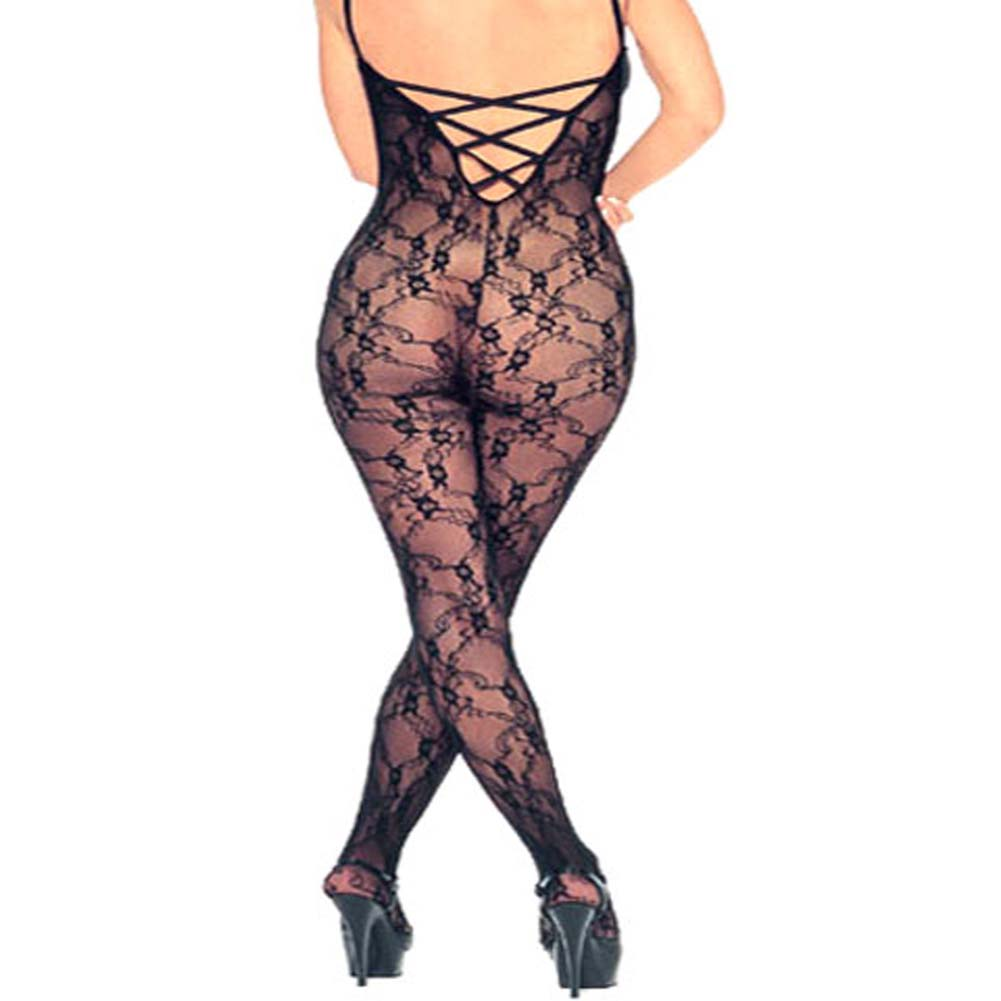 Lace Bodystocking Open Crotch Black Plus Size - View #1