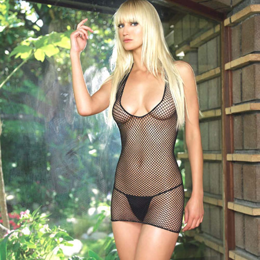 Lycra Industrial Fishnet Halter Dress - View #1