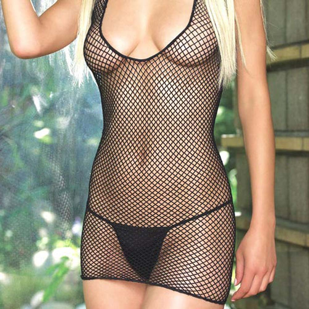 Lycra Industrial Fishnet Halter Dress - View #3