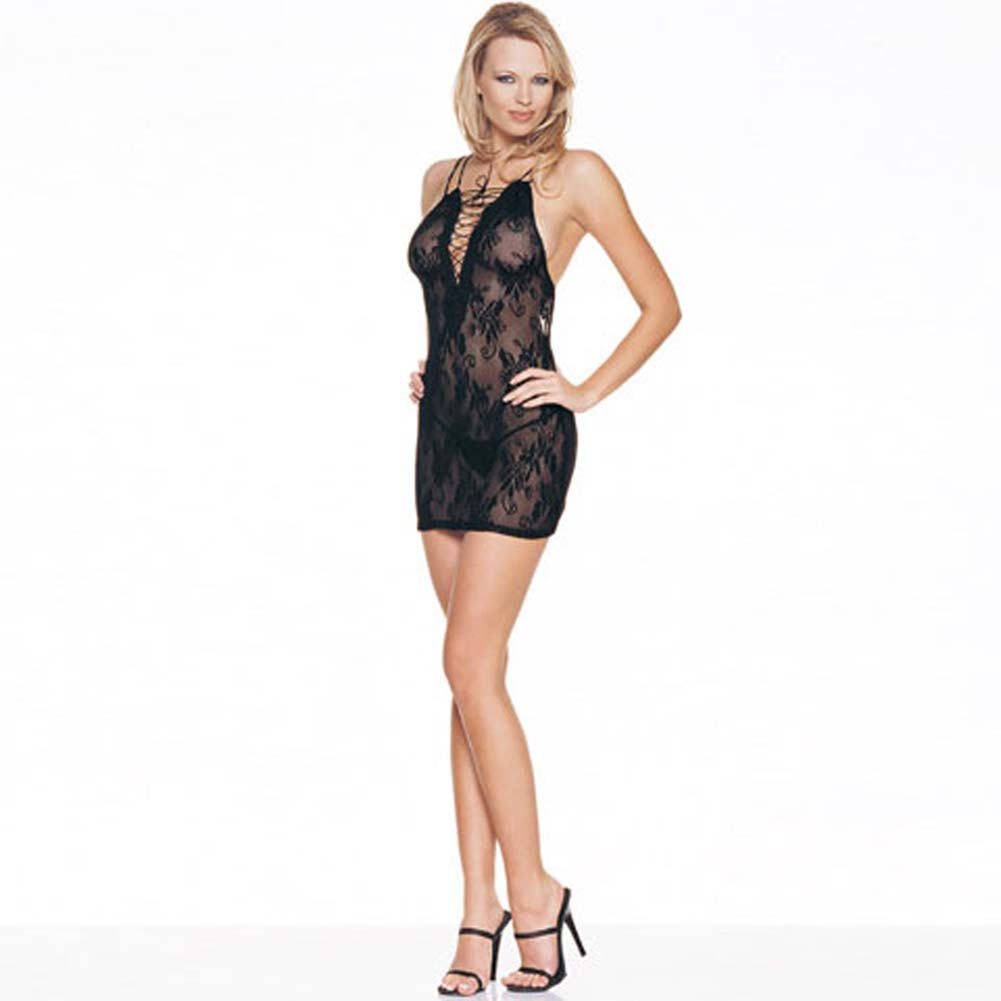 Lace Up Front Lace Dress and G-String Set - View #1