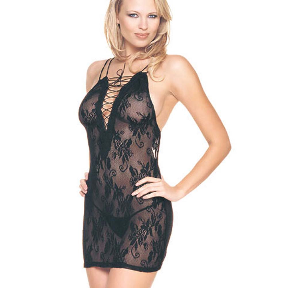 Lace Up Front Lace Dress and G-String Set - View #3