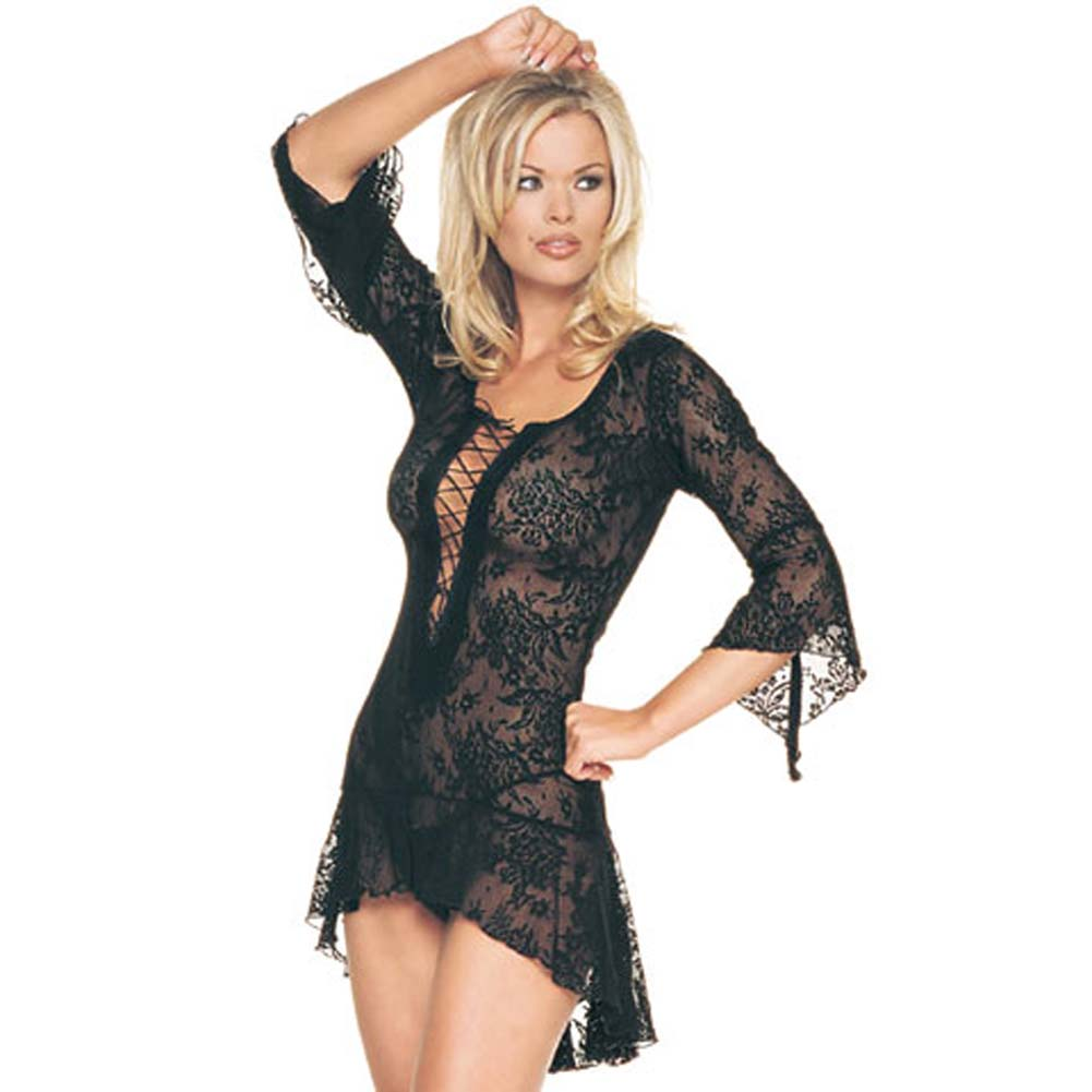 Spanish Lace Up Front Dress and G-String Set One Size Black - View #1