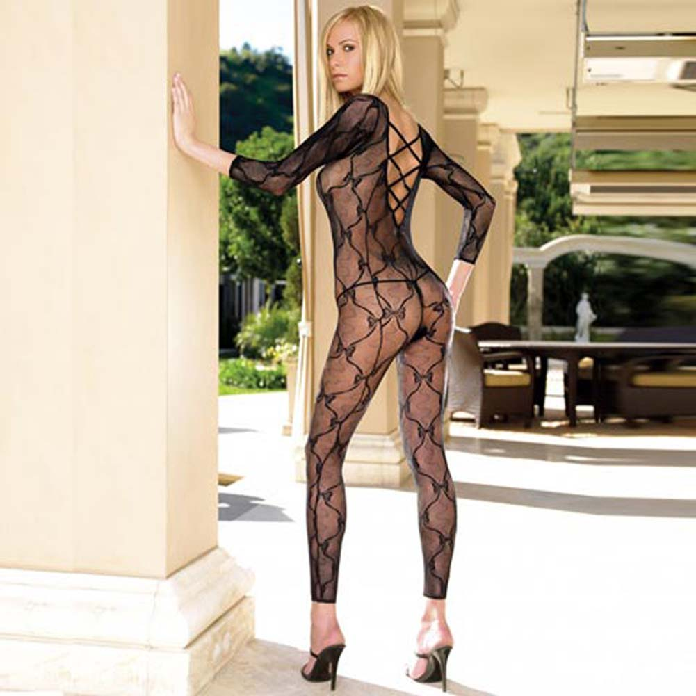 Footless Lace Bodystocking with Open Crotch - View #1