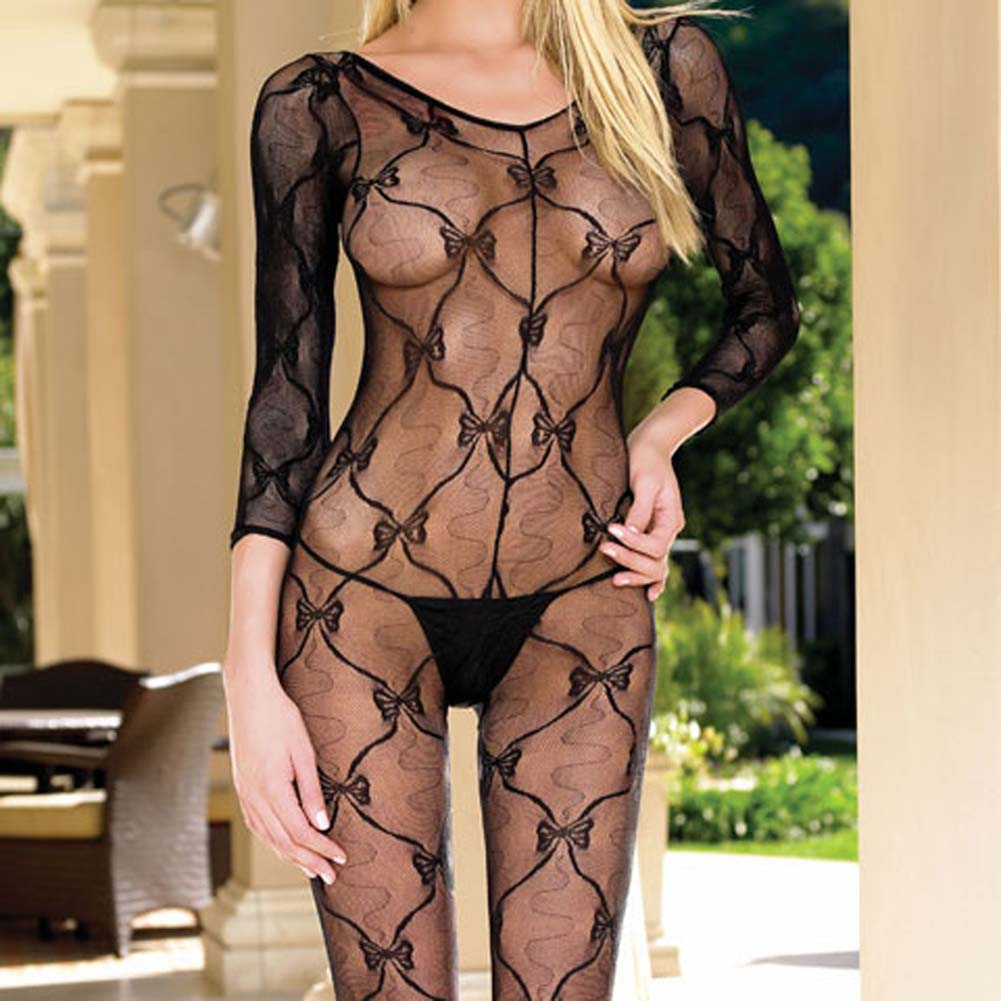 Footless Lace Bodystocking with Open Crotch - View #3